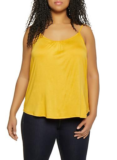 Plus Size Shirred Cami,MUSTARD,large