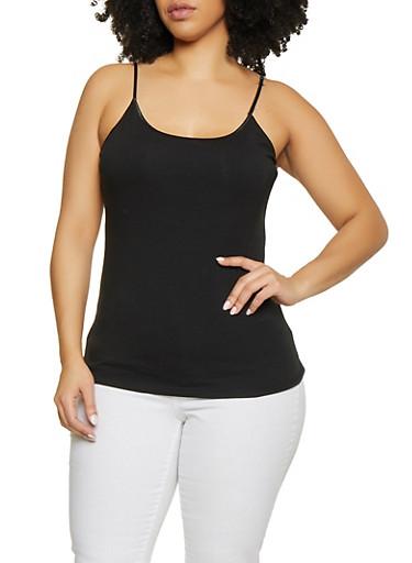 Plus Size Shelf Bra Cami | Black,BLACK,large