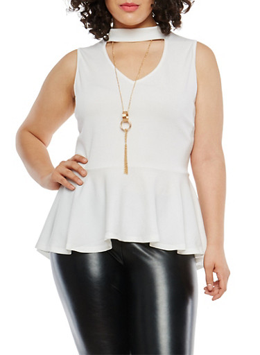 Plus Size Choker Neck Peplum Top with Necklace,WHITE,large