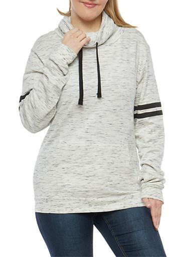 Plus Size Marled Cowl Neck Sweatshirt,OATMEAL,large