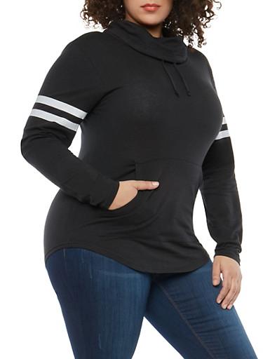 Plus Size Varsity Stripe Cowl Neck Top,BLACK,large