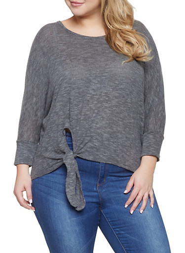 Plus Size Tie Front Sweater,CHARCOAL,large