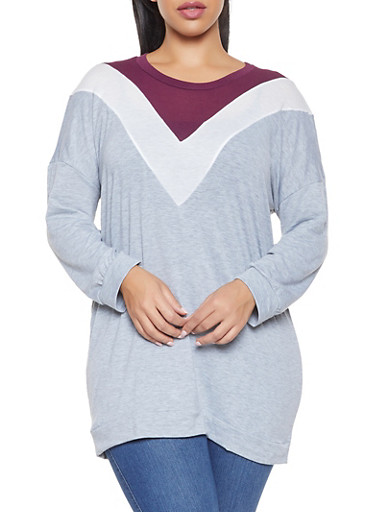 Plus Size Long Sleeve Chevron Tee,GRAY,large