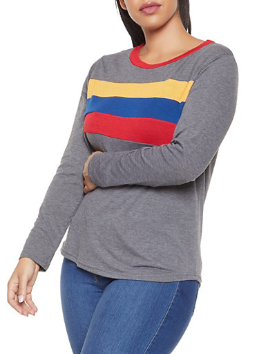 Plus Size Long Sleeve Color Block Detail Top,CHARCOAL,large