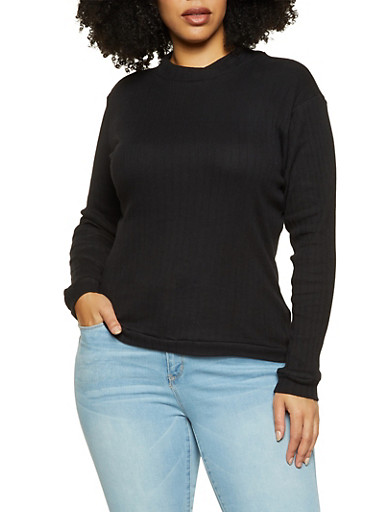Plus Size Ribbed Mock Neck Top,BLACK,large