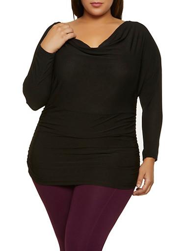 Plus Size Ruched Drape Neck Top,BLACK,large