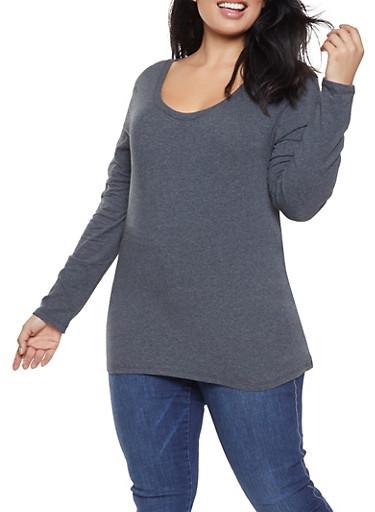 Plus Size Basic Long Sleeve Tee,CHARCOAL,large