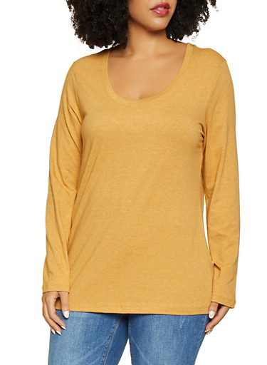 Plus Size Long Sleeve Tee,GOLD,large