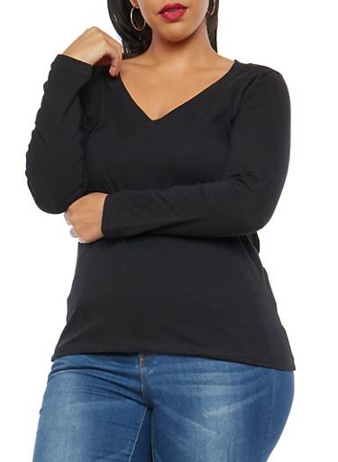 Plus Size Solid V Neck Top,BLACK,large