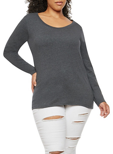 Plus Size Basic Scoop Neck Top,CHARCOAL,large
