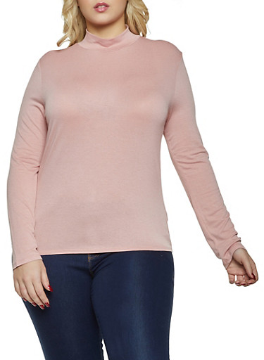 Plus Size Basic Mock Neck Top,MAUVE,large