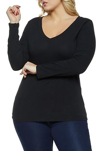Plus Size V Neck Long Sleeve Tee,BLACK,large