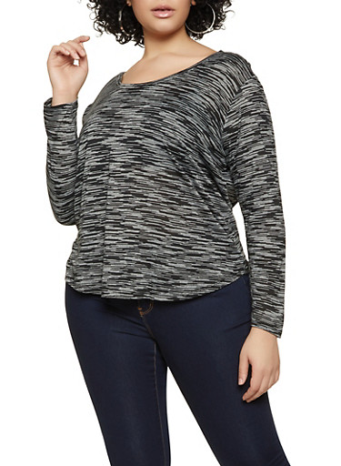 Plus Size Long Sleeve Marled Top,BLACK,large