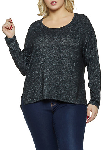 Plus Size Brushed Knit Scoop Neck Top,BLACK,large