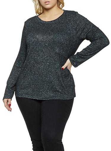 Plus Size Brushed Knit Long Sleeve Top,BLACK,large