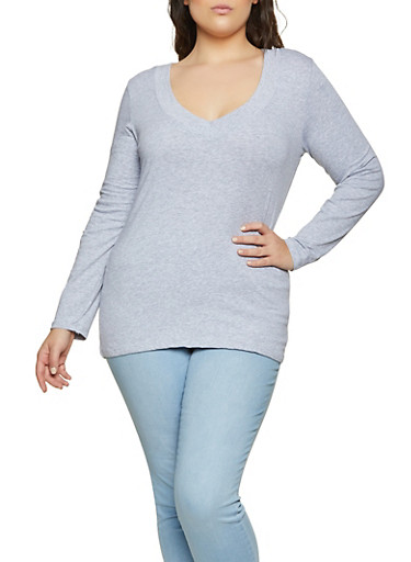 Plus Size Long Sleeve V Neck Tee | 1917054267200,HEATHER,large