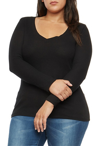Plus Size Basic Thermal V Neck Top,BLACK,large