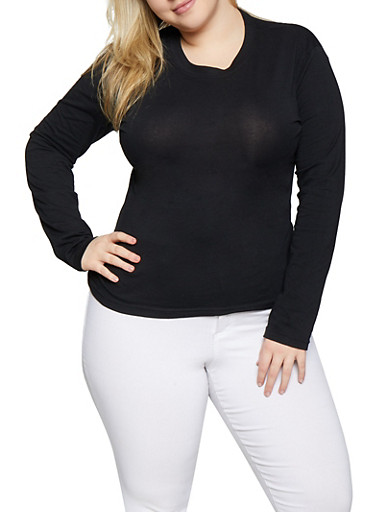 Plus Size Long Sleeve Solid Tee,BLACK,large