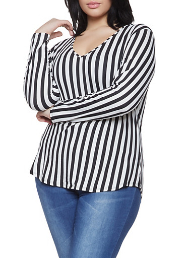 Plus Size Long Sleeve Striped Tee,BLACK/WHITE,large