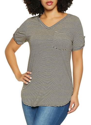 Plus Size Tabbed Sleeve Striped Tee,BLACK,large