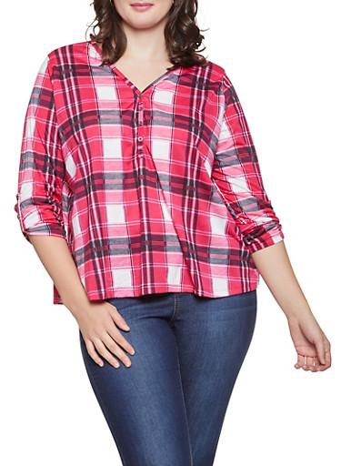 Plus Size V Neck Plaid Shirt,RED,large