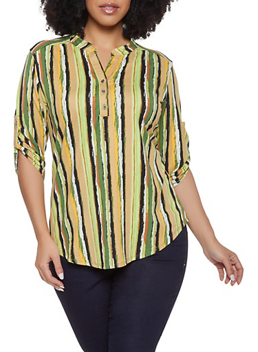Plus Size Striped Soft Knit Shirt,OLIVE,large