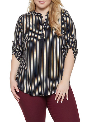Plus Size Striped Soft Knit Shirt,BLACK/WHITE,large