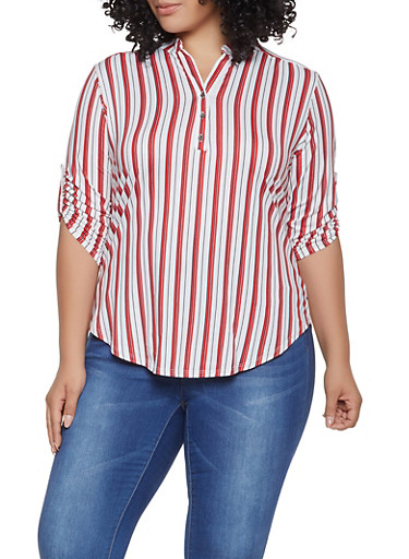 Plus Size Half Button Striped Shirt,BLACK,large