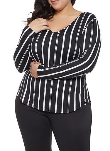 Plus Size Striped V Neck Tee,BLACK,large