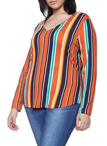 Plus Size Long Sleeve Multi Stripe Tee,RUST,large