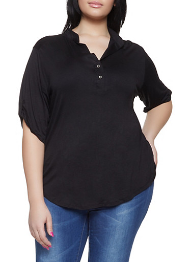 Plus Size Tabbed Sleeve Henley Shirt,BLACK,large