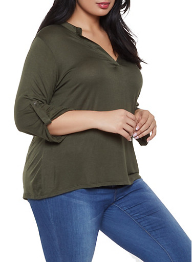 Plus Size Tabbed Sleeve Top,OLIVE,large