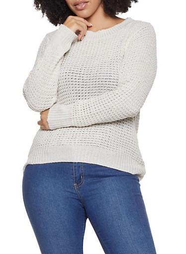 Plus Size Long Sleeve Sweater,IVORY,large