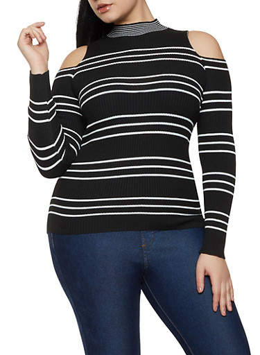 Plus Size Cold Shoulder Striped Sweater,BLACK/WHITE,large