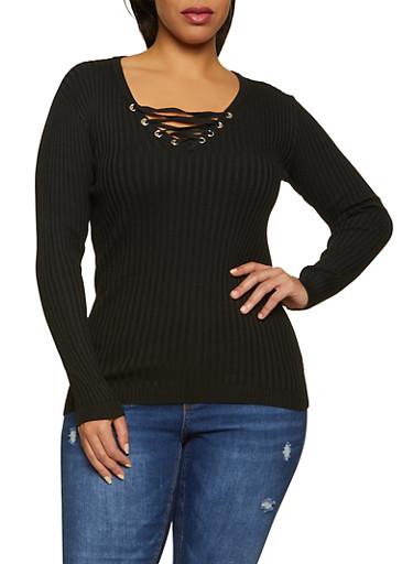 Plus Size Lace Up Ribbed Knit V Neck Sweater,BLACK,large