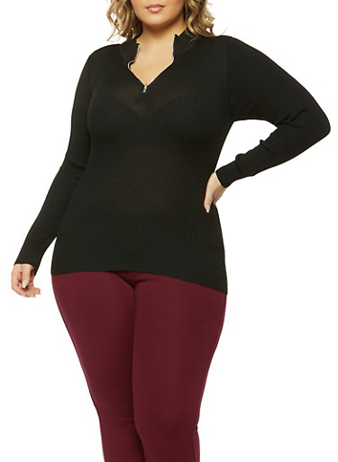 Plus Size Ribbed Zip Neck Sweater,BLK PTN,large