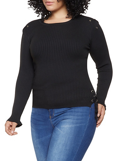 Plus Size Lace Up Ribbed Knit Sweater,BLACK,large