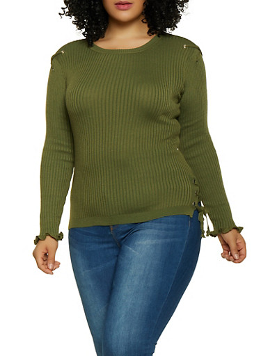 Plus Size Lace Up Ribbed Knit Sweater,OLIVE,large