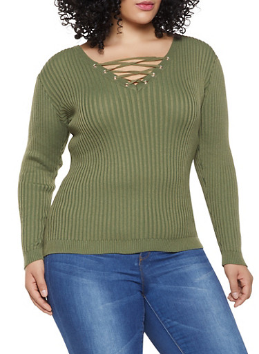 Plus Size Lace Up Sweater,OLIVE,large
