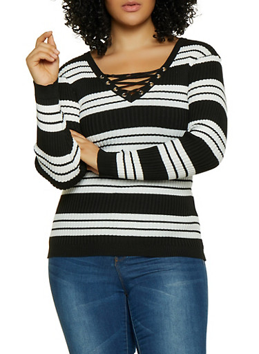 Plus Size Striped Lace Up Sweater,BLACK,large