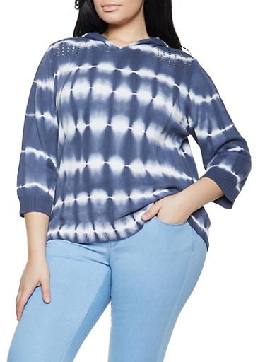 Plus Size Tie Dye Hooded Sweater,HEATHER,large