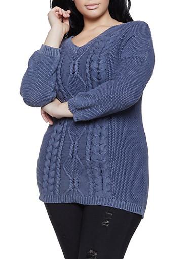 Plus Size Knit V Neck Sweater,BLUE,large