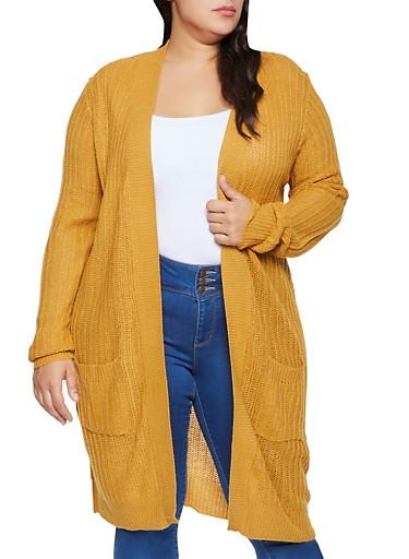 Plus Size Two Pocket Long Sleeve Cardigan,MUSTARD,large