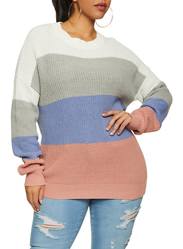 Plus Size Knit Color Block Sweater,IVORY,large