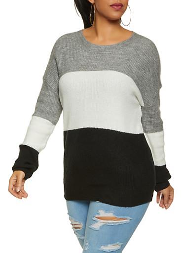 Plus Size Color Block Sweater,HEATHER,large