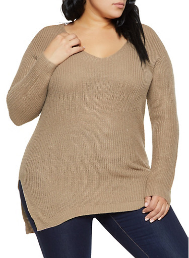 Plus Size Caged V Back Sweater,KHAKI,large