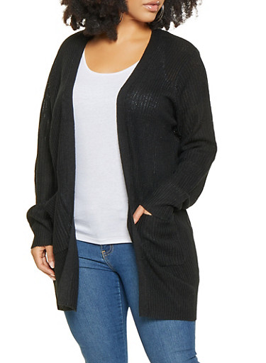 Plus Size Long Cardigan,BLACK,large