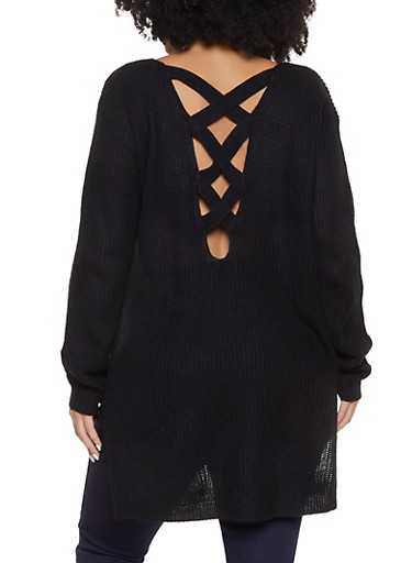 Plus Size Lace Up Back Sweater,BLACK,large