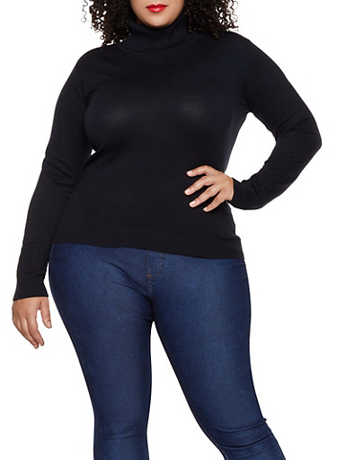 Plus Size Solid Turtleneck Sweater,BLACK,large