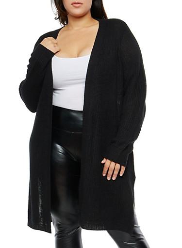 Plus Size Knit Open Front Duster,BLACK,large